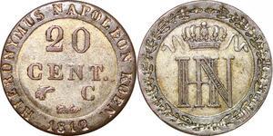 P0101 Germany Westphalia 20 Centimes Jerome Napoleon 1812 C Cassel Silver UNC