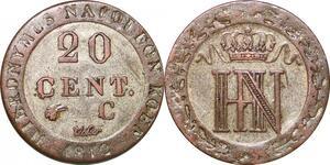 P0103 Germany Westphalia 20 Centimes Jerome Napoleon 1812 C Cassel Silver AU