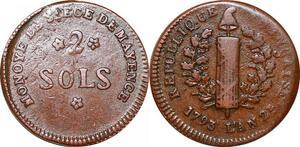 P0105 Germany Siege Mainz Mayence 2 Sols Friedrich Karl Joseph 1793 ->M offer