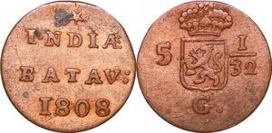 P0124 Netherlands East Indies 1/2 Duit Batavia 1808 KM75 AU -> Make offer