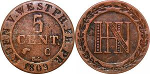 P0125 Germany Westphalia 5 Centimes Jerome Napoleon 1809 C Cassel ->M offer
