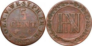 P0126 Germany Westphalia 5 Centimes Jerome Napoleon 1809 C Cassel ->M offer