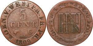 P0135 Germany Westphalia 5 Centimes Jerome Napoleon 1812 C Cassel ->M offer
