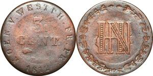 P0139 Germany Westphalia 3 Centimes Jerome Napoleon 1812 C Cassel ->M offer