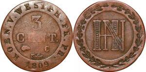 P0142 Germany Westphalia 3 Centimes Jerome Napoleon 1809 C Cassel ->M offer