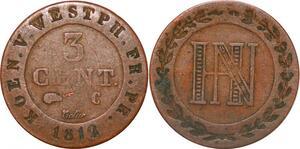P0144 Germany Westphalia 3 Centimes Jerome Napoleon 1812 C Cassel ->M offer
