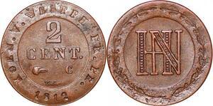 P0151 Germany Westphalia 2 Centimes Jerome Napoleon 1812 C Cassel AU++