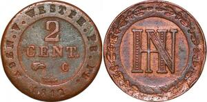 P0153 Germany Westphalia 2 Centimes Jerome Napoleon 1812 C Cassel ->M offer