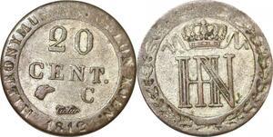 P0164 Germany Westphalia 20 Centimes Jerome Napoleon 1812 C Cassel Silver AU