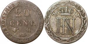 P0166 Germany Westphalia 20 Centimes Jerome Napoleon 1812 C Cassel Silver