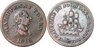 P0171 Canadia Nova Scotia 1/2 Penny John Alex Barry Halifax 1815 -> Make offer