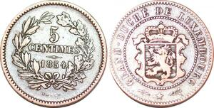 P0182 Luxembourg  5 Centimes Willem III 1854 Bruxelles Utrecht KM#22.1