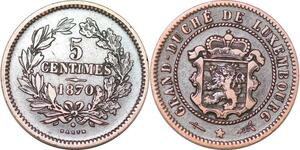 P0183 Luxembourg  5 Centimes Willem III 1870 Bruxelles Utrecht KM#22.1