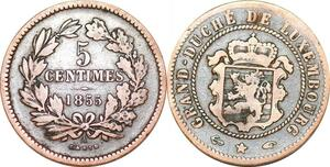 P0185 Luxembourg  5 Centimes Willem III 1855 A Paris KM#22.2 -> Make offer