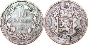 P0191 Luxembourg  10 Centimes Willem III 1855 A Paris KM#23.2 -> Make offer