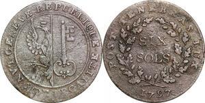 P0208 Switzerland Swiss Geneva Cantons 6 Sols 1797 -> Make offer