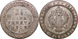 P0225 Italy Venice 1/2 Lira Veneta Francesco II d'Absburgo Lorena 1802 Silver