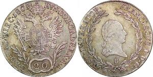 P0227 Austria Habsburg 20 Kreuzer Franz I 1809 B Silver AU -> Make offer