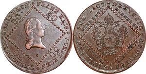 P0230 Scarce Austria Habsburg 30 Kreuzer Franz II 1807 S Schmöllnitz AU