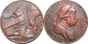 P0295  Token United Kingdom 1/2 Penny Wilkinson Iron Master 1790 -> Make offer