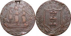 P0298 United Kingdom  Token 1/2 Penny Yorkshire Hull Arms Ship 1794