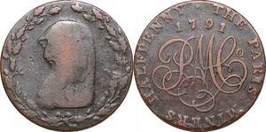 P0300 United Kingdom 1/2 Half Penny Anglesey Parys Mines Druid 1791