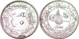 P0334 Ottoman Empire 20 Para Muhammad V 1327 1913 AU -> Make offer