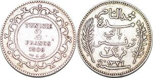 P0356 Tunisia  2 Francs  Muhammad V AH 1326 1908 A Paris silver -> Make offer