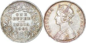 P0362 India British Rupee Victoria 1901 Silver -> Make offer