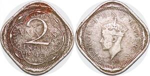 P0370 Scarce India British 2 Annas George VI 1940 .  -> Make offer