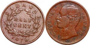 P0374 Malaisya 1/2 Half Cent Sarawak Charles Brooke Rajah 1870 -> Make offer