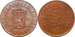 P0387 Netherlands East Indies Indonesia 2 1/2 Cents Wilhelmina 1945