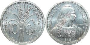 P0403 Scarce Indo China Indochine 10 centimes Essai 1945 PCGS SP65