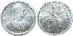 P0404 Scarce Indo China Indochine 10 centimes Essai 1945 PCGS SP65