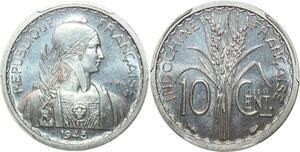 P0405 Scarce Indo China Indochine 10 centimes Essai 1945 PCGS SP66