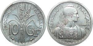 P0406 Scarce Indo China Indochine 10 centimes Essai 1945 PCGS SP64