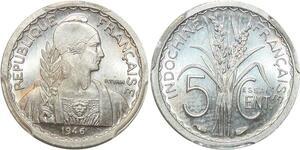 P0407 Scarce Indo China Indochine 5 centimes Essai 1946 PCGS SP64 -> Make offer