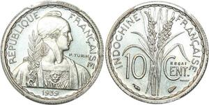 P0411 Scarce French Indochina 10 centimes Essai Nickel 1939 PCGS SP66