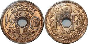 P0415 Finest  French IndochinaIndochine 1/2 centimes Essai 1935 PCGS SP66