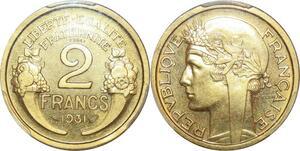 P0432 Rare 2 francs Essai Piefort Morlon 1931 PCGS SP66 La plus belle connue