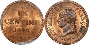 P0434 Rare 1 centime Dupré 1848 A PCGS MS63 Splendide -> Make offer
