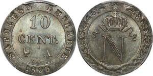 P0435 Inedit 10 centimes napoléon 1er 1808 Paris Frappe Medaille PCGS MS65 FDC