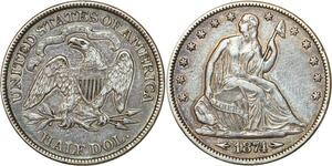 P0445 Scarce United States Half Dollar Liberty Seated 1874 Silver AU