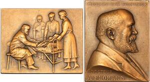 P0451 Rare Plaque Medaille Médecins Hopitaux Docteur Florand Prudhomme SUP