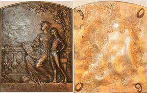 P0475 Rare Plaque Contemplation Femme Enfant Auguste Maillard SUP