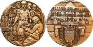 P0485 Médaille Libération 7 Mai 1945 Reims Alliés Soldats Armée SUP