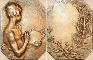 P0497 Rare Plaque Charpentier La Peinture Paris Silvered -> F offre