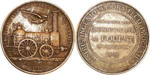 P0502 Rare Médaille Chemin Fer Paris St Germain 1909 Bronze Argenté SUP