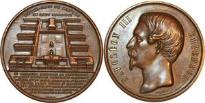 P0506 Rare Médaille Napoleon III Empereur Hotel Dieu de Nantes 1856 Caqué SUP