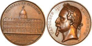 P0509 Rare Médaille Napoléon III Empereur Commerce Paris 1865 Merley SUP